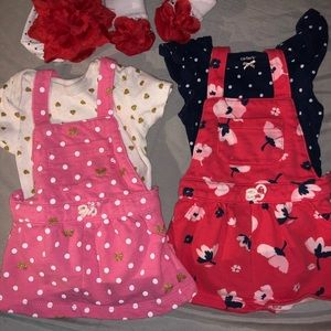 2 Dress sets with hair band and matching socks